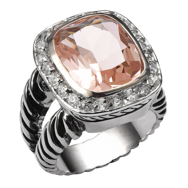 Morganite 925 Sterling Silver High Quantity Ring