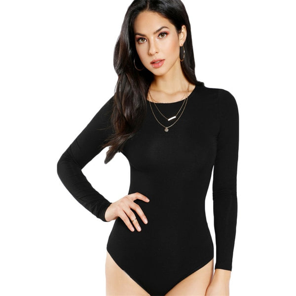 Skinny Sexy Bodysuit Solid Long Sleeve Tee Bodysuit Black Mid Waist Round Neck Autumn Casual Bodysuit for Women