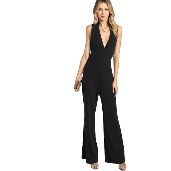 Mid Waist Backless Party Jumpsuit