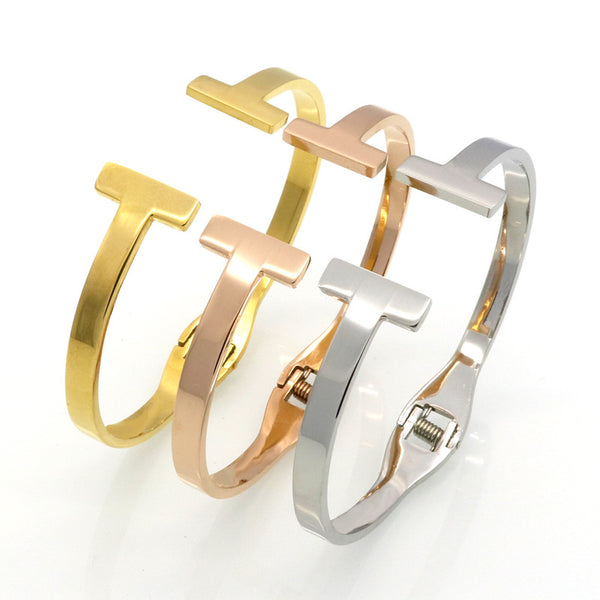 Stainless Steel Gold Colour Spring Snap Bracelet