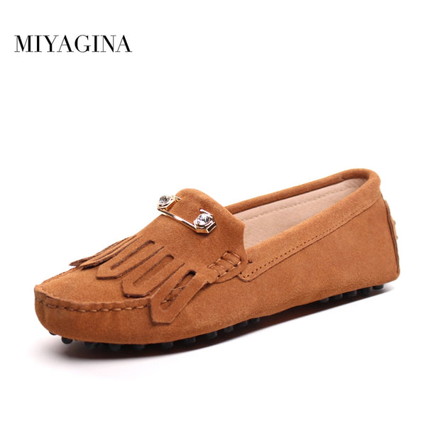 Genuine Leather Casual  Round Toe Flats