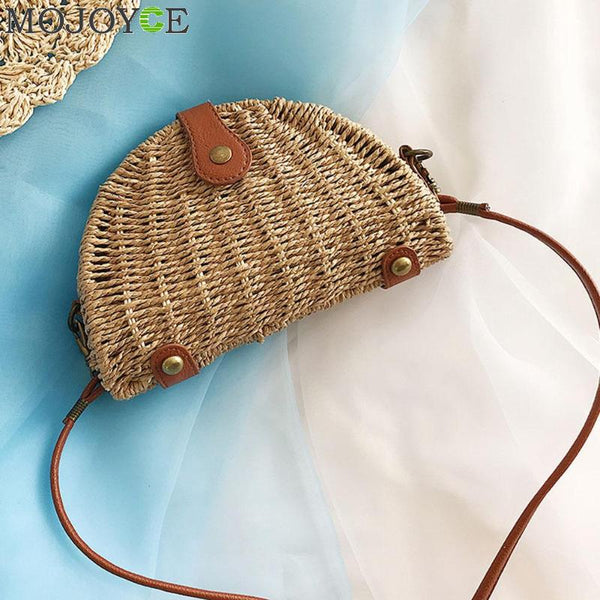 Rattan Straw Shoulder Bag