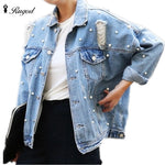 VA Fashion Pearls Denim Jacket