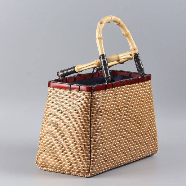 Vintage Hand-woven Rattan Bamboo Japanese-style Art Bamboo Women Boutique Rattan Bag Handbag Tea Storage Bag A4535