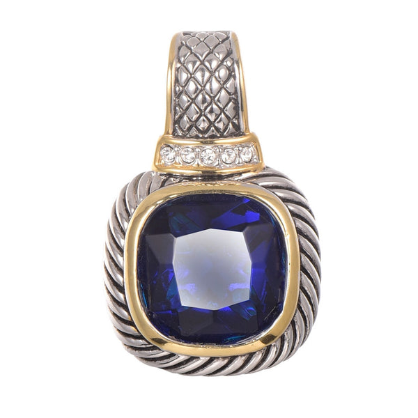 Blue Crystal Zircon Gold Filled 925 Sterling Silver Pendant
