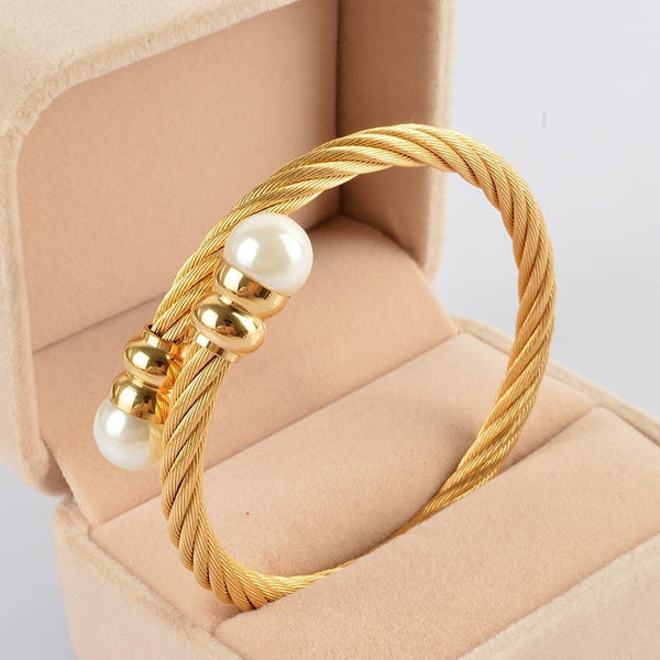 Cable Bangles Gold 316l Stainless Steel Bracelet