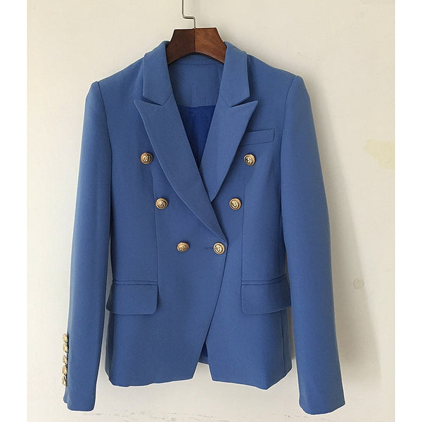 HIGH QUALITY New Fashion 2018 Designer Blazer Jacket Women's Classical Metal Lion Buttons Double Breasted Blazer Lake Blue
