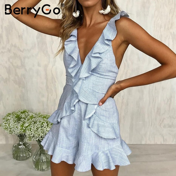 Ruffle Backless Short Jumpsuit 2 Colors