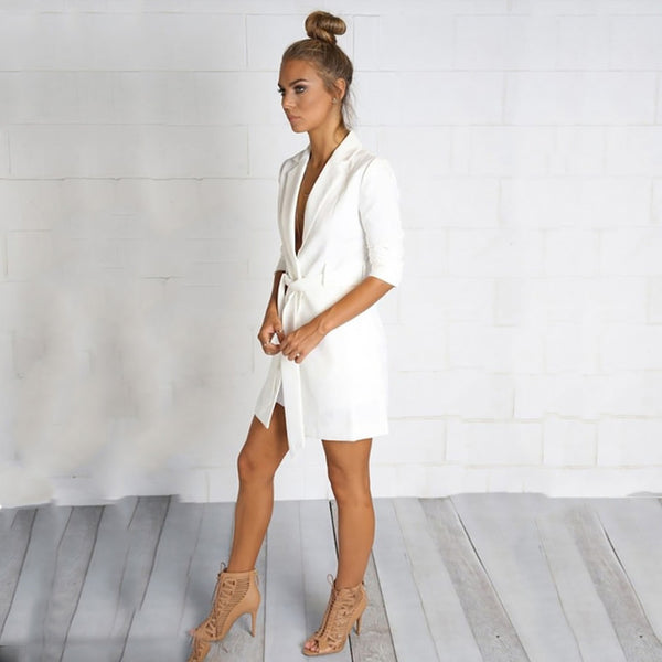 Solid White Color Blazer