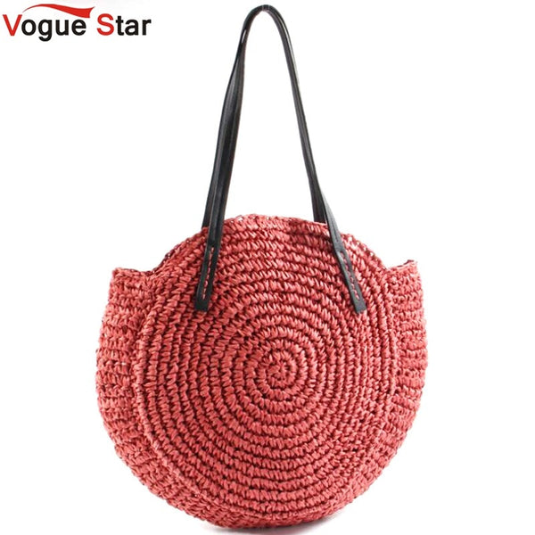 Round Straw Beach Bag  2 Colors