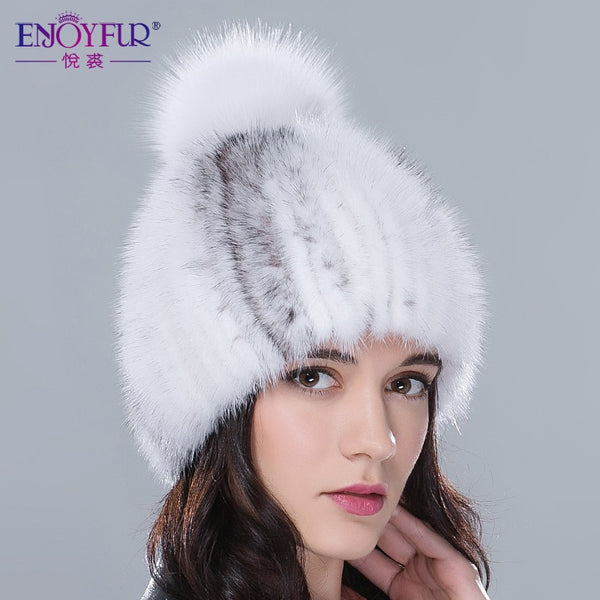 Real mink fur winter hat women with fox fur pom pom top 2018 new sale  knitted ca67bcd2bf2