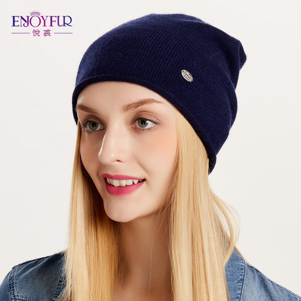 687a493201f ENJOYFUR Spring Autumn hats for women knitted wool beanies hat 2018 new  good quality female hat