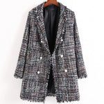 Office Woolen Plaid Blazer