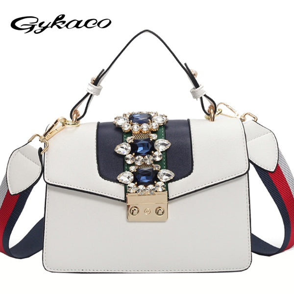 Diamond Shoulder Bag Solid Flap Crossbody Bags Handbags Women Famous Brands  Decorated Beading