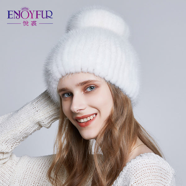 Women Winter Mink Fur Hat Warm Knitted 2018 New Natural Fur Caps With  Rhinestone 40665e5f5651