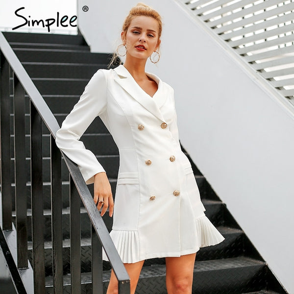 5a56f72b49c5 Simplee Elegant ruffle double breasted women dress Office casual blazer  white dress 2018 Autumn winter slim