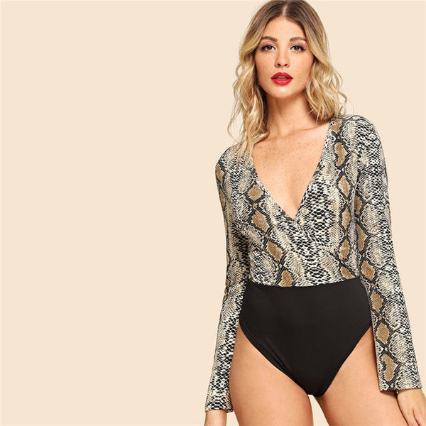 Graphic Print Deep V Neck  2018 Autumn Night Out Long Sleeve Skinny  Back Cut Bodysuit