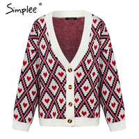 Heart Print knitted Cardigan