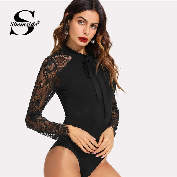 Sheinside Black Tie Neck Lace Panel Sleeve Bodysuit Women Skinny Mid Waist Zipper Bodysuit Office Ladies Work Elegant Bodysuit