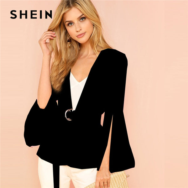 297c717830c4 SHEIN Black Office Lady Elegant Split Sleeve Belted Solid Fashion Blazer  2018 Autumn Highstreet Women Coat