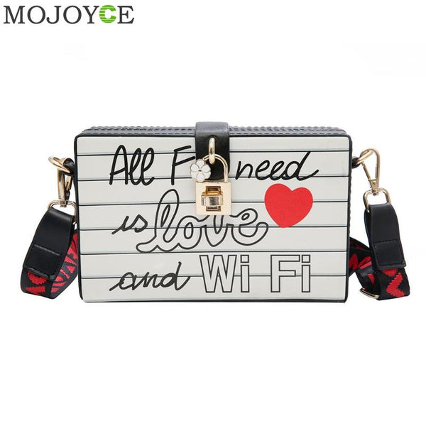 Fashion Brand  Letter Print Box Case Crossbdoy Bag Women Shoulder Bags