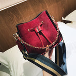 Luxury handbags women bucket bag designer Vintage PU Leather Shoulder Bag Simple chains Crossbody