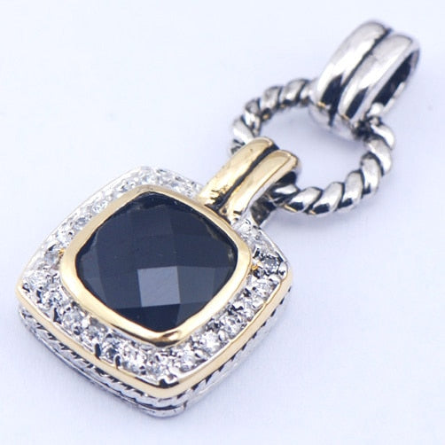 Black Onyx Woman 925 Sterling Silver Crystal pendant