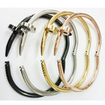Gold Colour Cuff Nail Bangle Stainless Bracelet