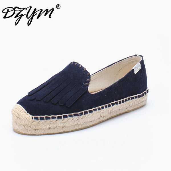 Top Quality Fashion Design Canvas Espadrille Cow Suede Women Flats Platform Tassels Loafers Fringe