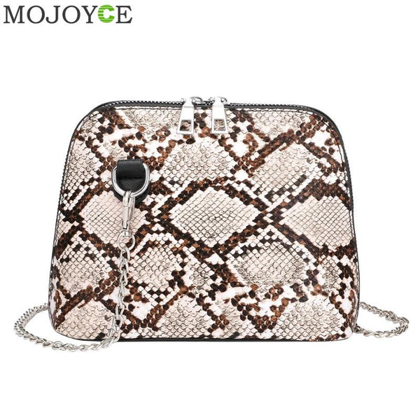 Fashion Women Bag Snake Print Chain Shoulder Handbags Women PU Leather Crossbody Bags