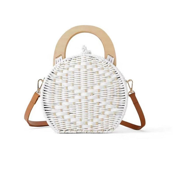 ZA   Round Rattan Beach Small Bag