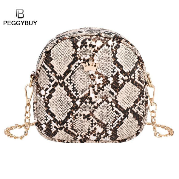 Snake Print Chain Shell Shoulder Handbags Women Crown Leather Crossbody Handbag