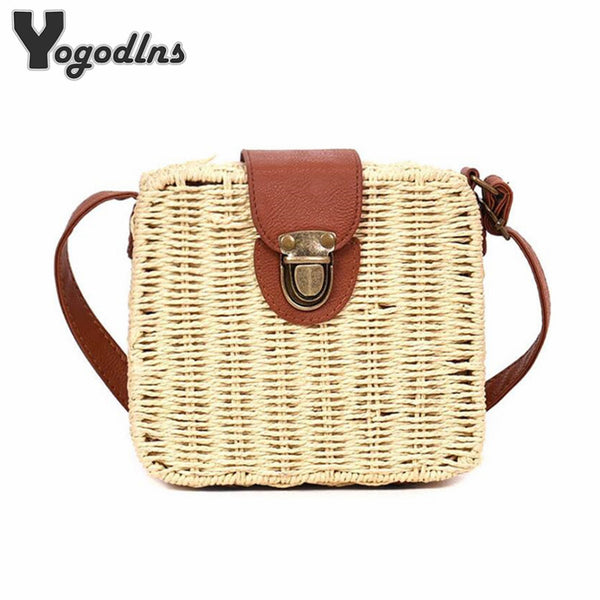 Straw Small Shoulder Beach  Bags 6 Colors