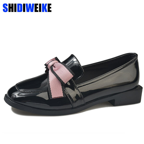 Bow-Tie Patent Leather Elegant Low Heels Loafers
