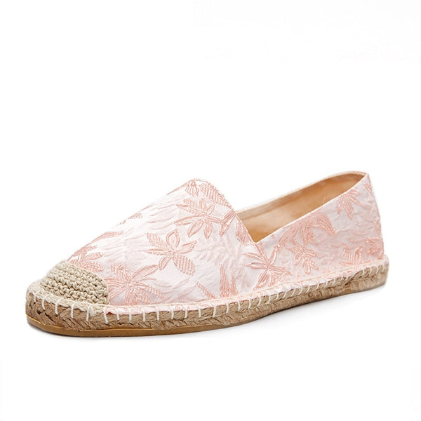 women slip on espadrilles, flat embroidery fabric upper, rubber outsole