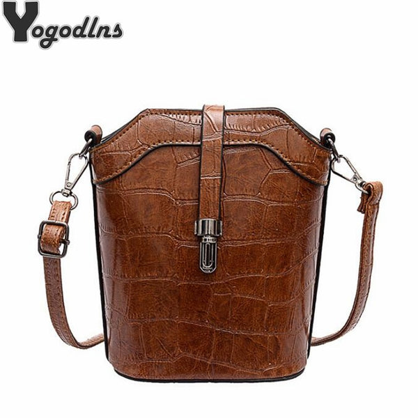 Pu Leather Bucket Women Handbag  Small Shoulder  Crossbody Handbag
