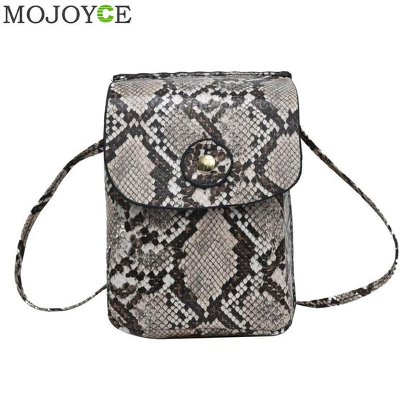 Women  Crossbody Shoulder Bag High Quality PU Leather Phone Pouch Fashion Snake Handbag