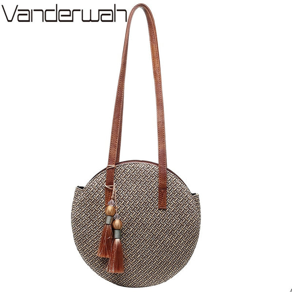 Round Straw Shoulder Bag