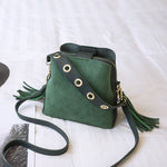 Women Fashion Bucket Shoulder Bags Rivets Zipper Tassel Hasps  Soft Cross-body Bags 4 Colors