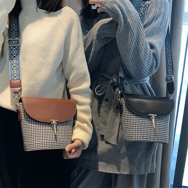 Fashion Houndstooth Crossbody Bags Women Vintage Bucket  Embroidery Strap Shoulder Handbags