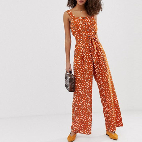 Button High Waist Jumpsuits