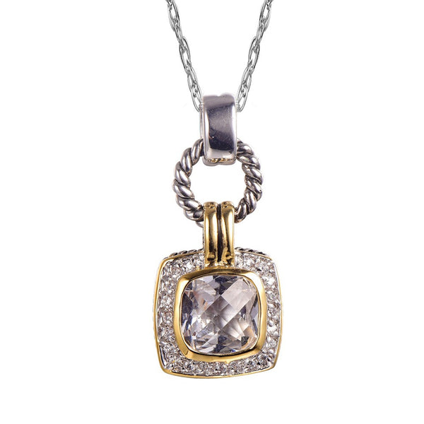 White Crystal Zircon 925 Sterling Silver Gold Filled Pendant