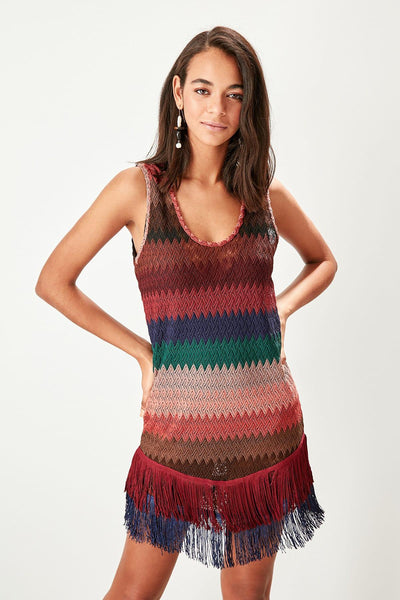 Colorful Striped Knit Cover Up