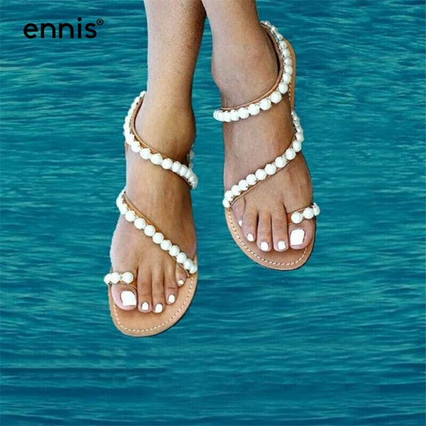 Genuine Leather Gladiator Flat Pearl Sandals