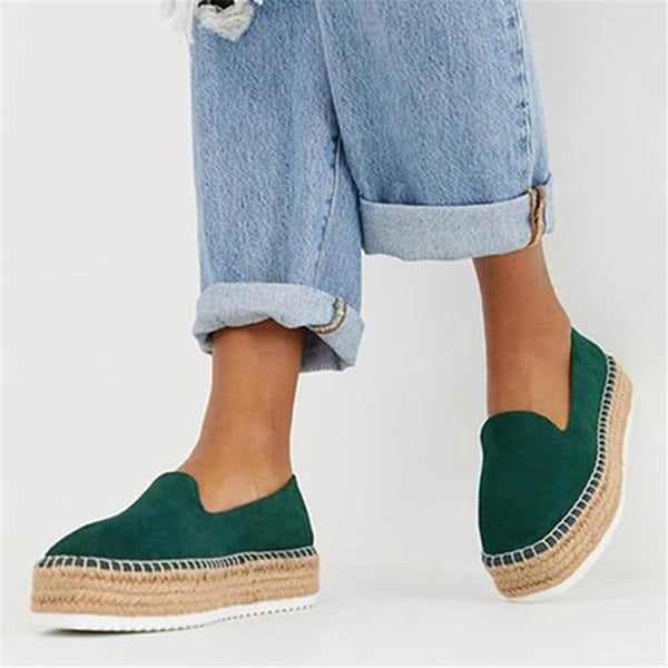 f05a69d8190 HEFLASHOR Faux Suede Espadrilles Shoes Slip-on Casual Loafers Women  Platform Flats 2019 Ballet Flats Ladies Shoe Zapatos Mujer