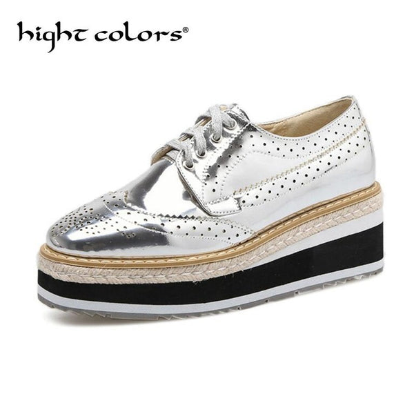 Casual Brogue Patent Leather Lace Up Platform Flats
