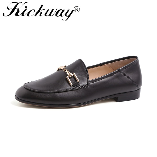 Genuine Leather  Round Toe Brown Loafers