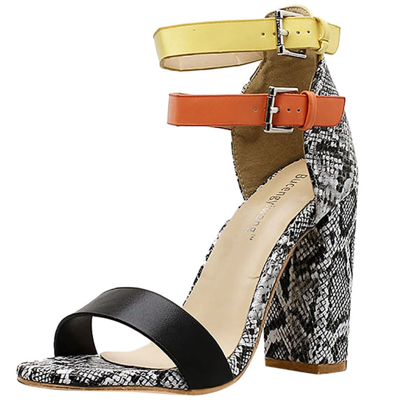 Mixed Colors High Heels Buckle Sandals