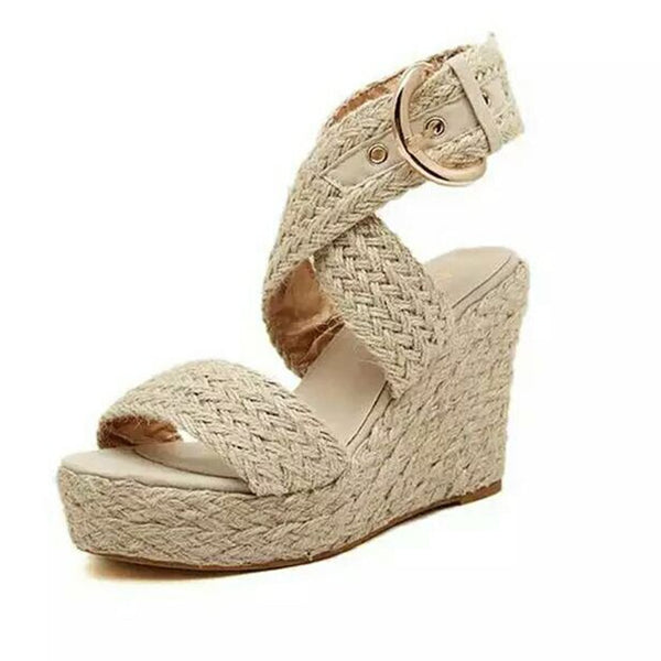 Casual Buckle Wedges Sandals 3 Colors