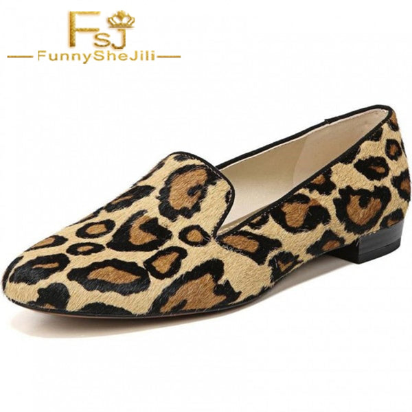 Brown Horsehair Leopard Print Loafers